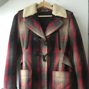 Comptoir De Cotonniers plaid wool coat